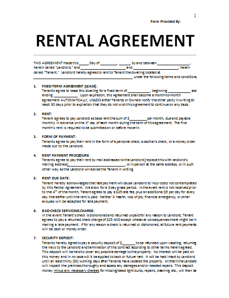rental agreement word template lease agreement word template
