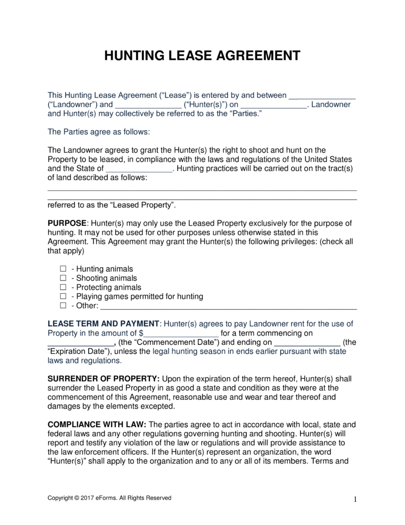 Free Hunting Lease Agreement PDF | Word | eForms – Free Fillable