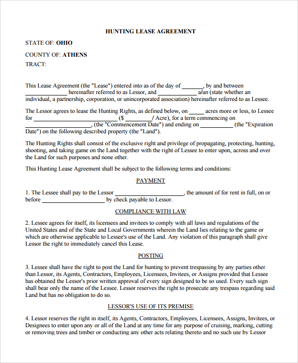 11+ Sample Hunting Lease Agreements | Sample Templates