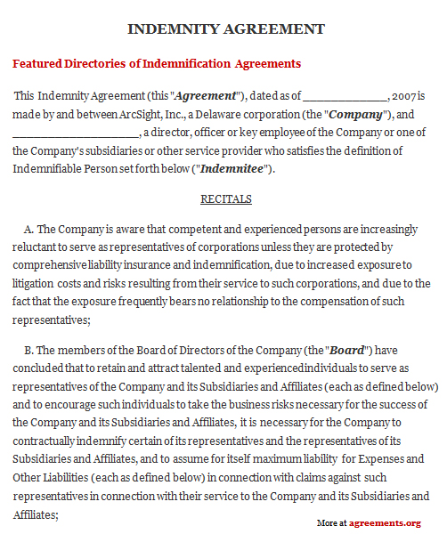 indemnification agreement template indemnity agreement sample