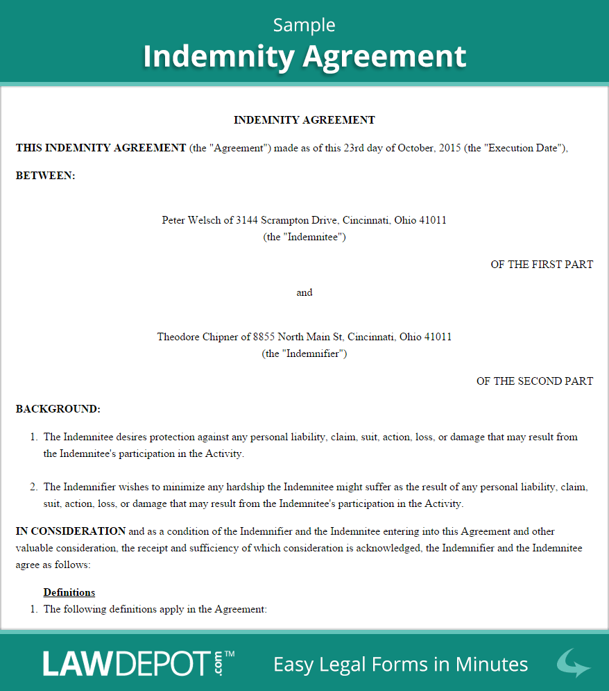 Hold Harmless Agreement Template (US) | LawDepot
