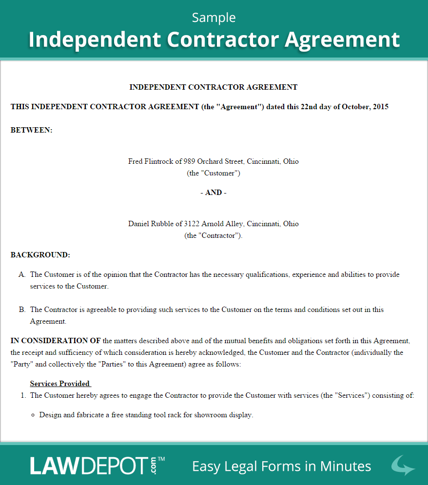 contract agreement template independent contractor agreement