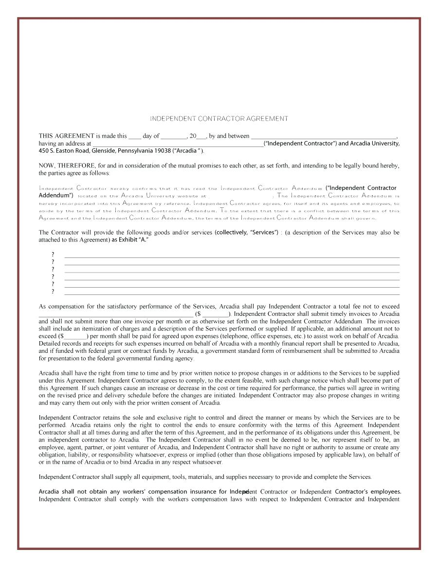 template: Independent Contractor Agreement Sample Template