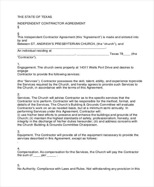 9+ Independent Contractor Agreement Form Samples Free Sample