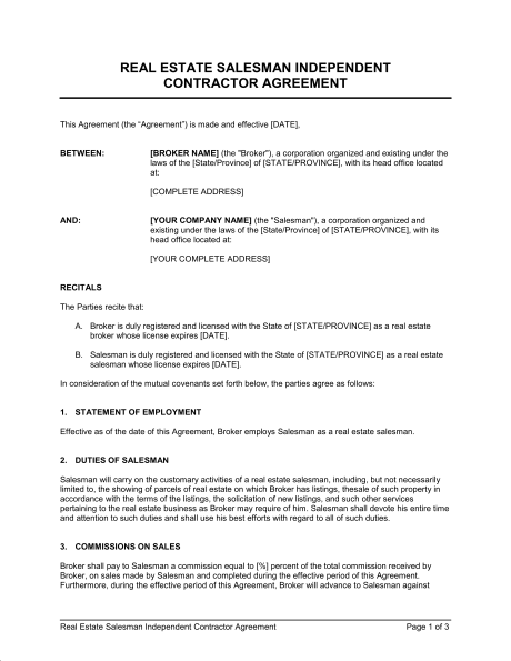 Real Estate Salesman Independent Contractor Agreement Template