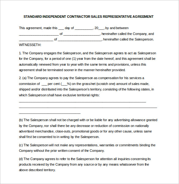 independent contractor sales commission agreement Ecza.solinf.co