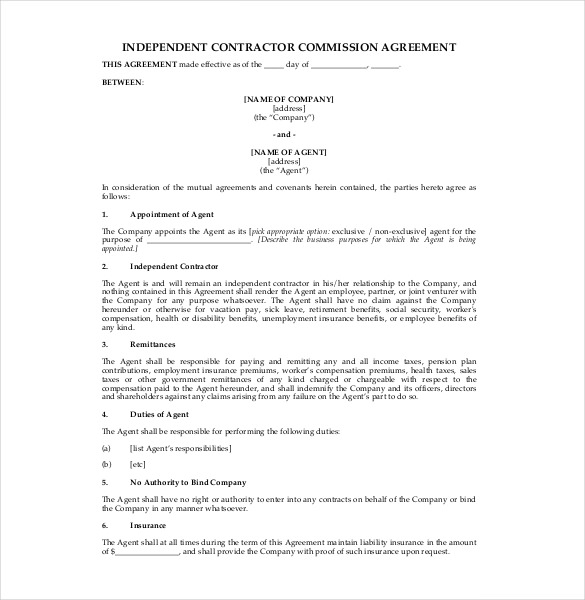 Commission Agreement Template 22+ Free Word, PDF Documents