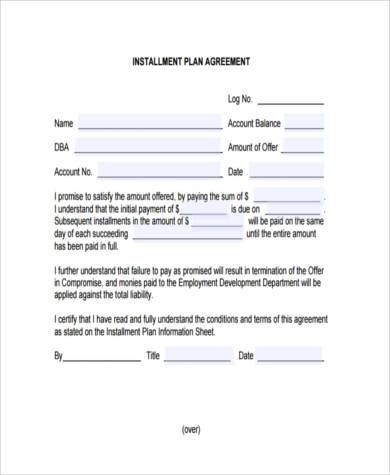Installment Agreement Form Samples 8+ Free Documents in Word, PDF