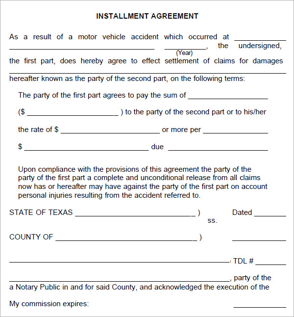 installment agreement template installment payment agreement