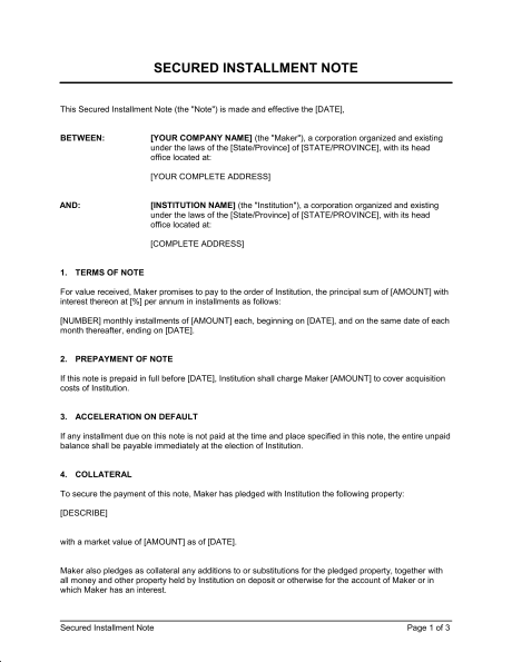 payment installment agreement template installment payment