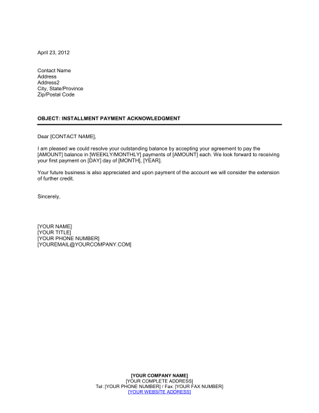 Simple Payment Agreement Template Installment