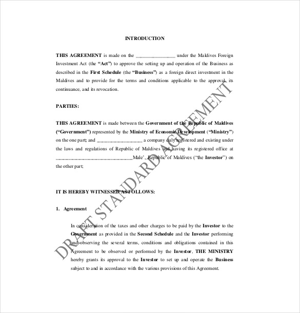 investment agreement template malaysia 14 investment agreement