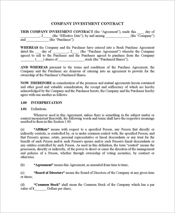 artist investor agreement template 11 investment contract