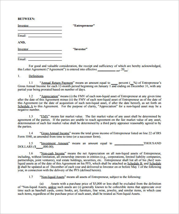 investment agreement template 10 investment contract templates