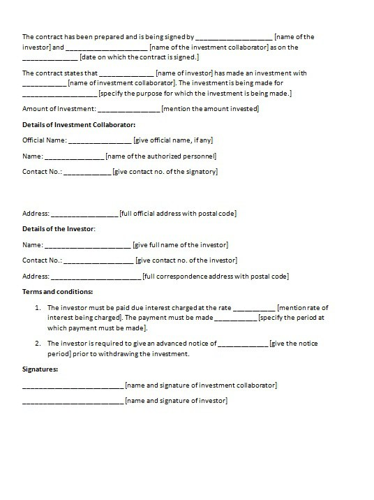 investment agreement template investment contract template