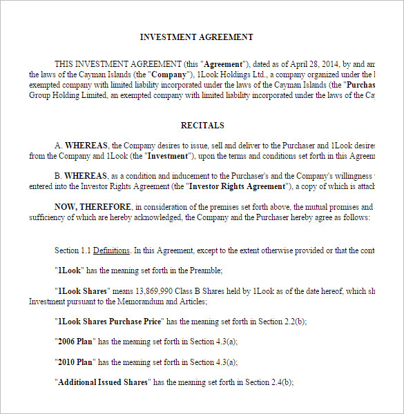 investor agreement template investor agreement template 10