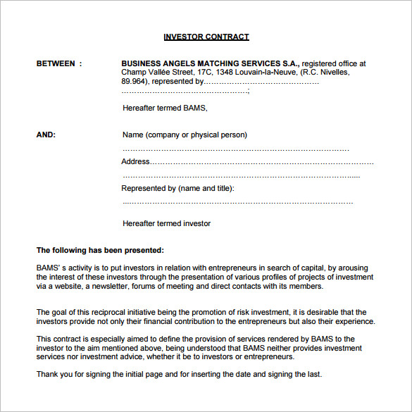 investment agreement template capital investment agreement