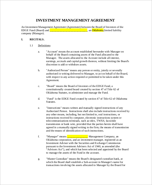 investment management agreement template investor agreement