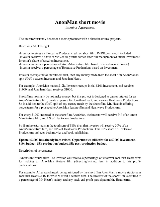 Motion Picture Investor Financing Agreement | Legal Forms and