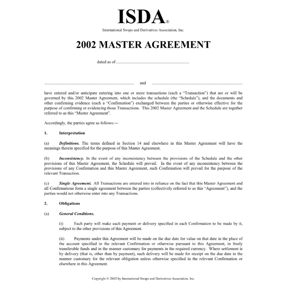 Introduction to the ISDA Master Agreement, inclusive of OTC