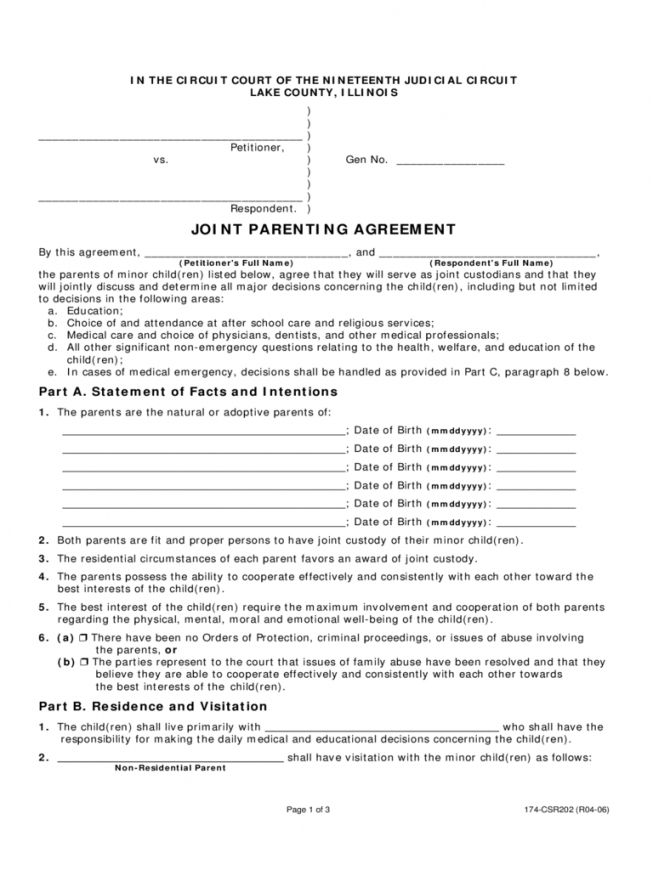 50 50 custody agreement template free joint custody agreement
