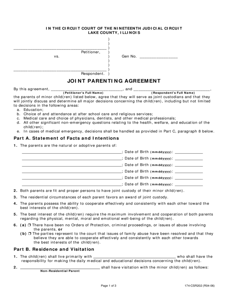 Joint Custody Agreement Form 6 Free Templates in PDF, Word