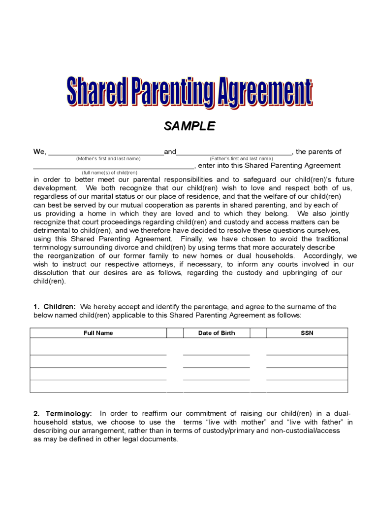 Agreement: Joint Custody Agreement Form. Joint Custody Agreement Form