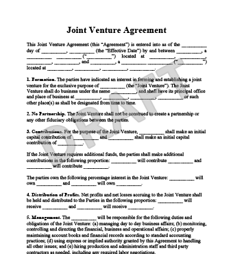 commercial co venture agreement template create a joint venture