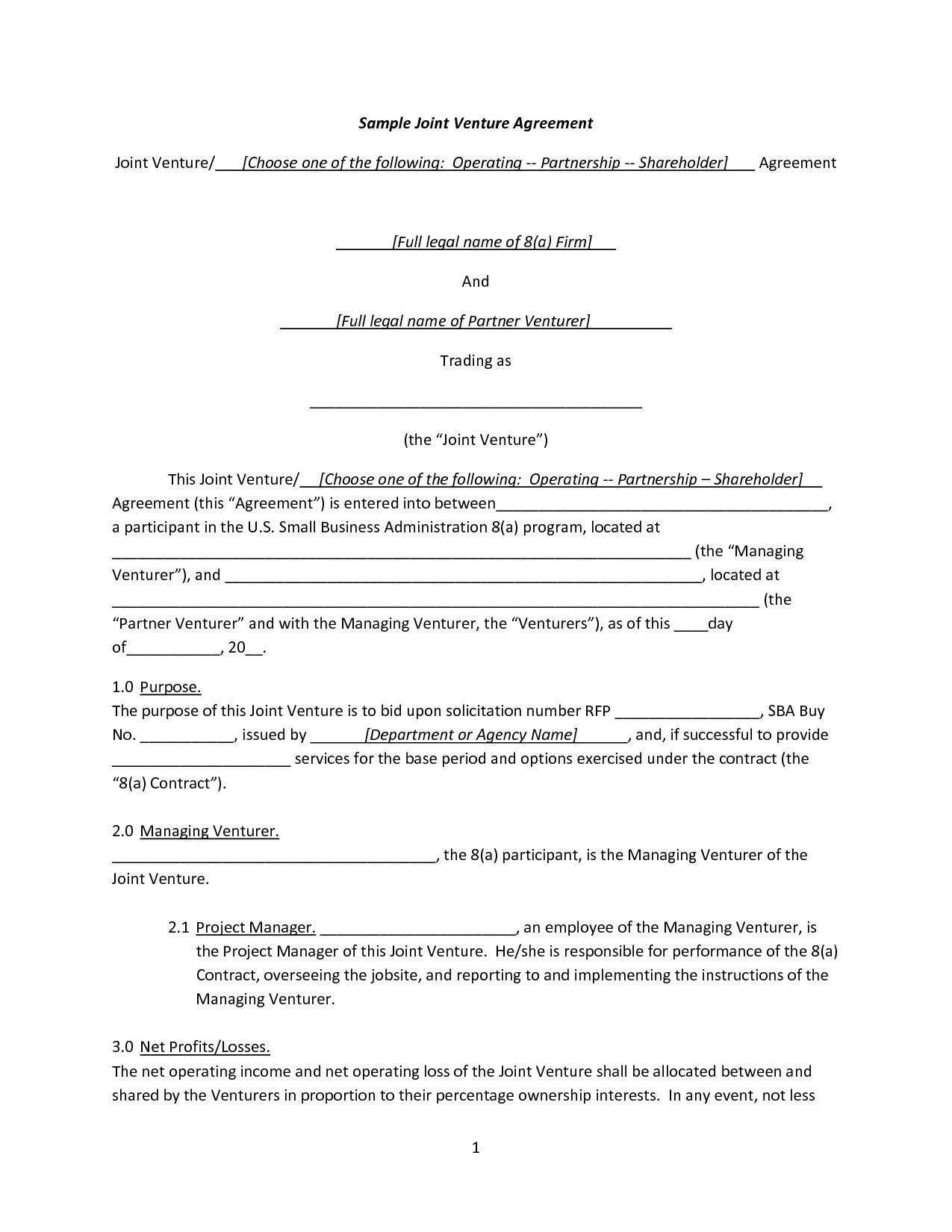 Sample Joint Venture Agreement Resume Template Sample
