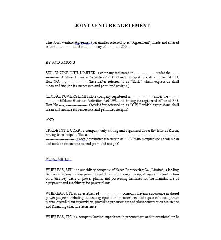 joint venture agreement template 53 simple joint venture agreement