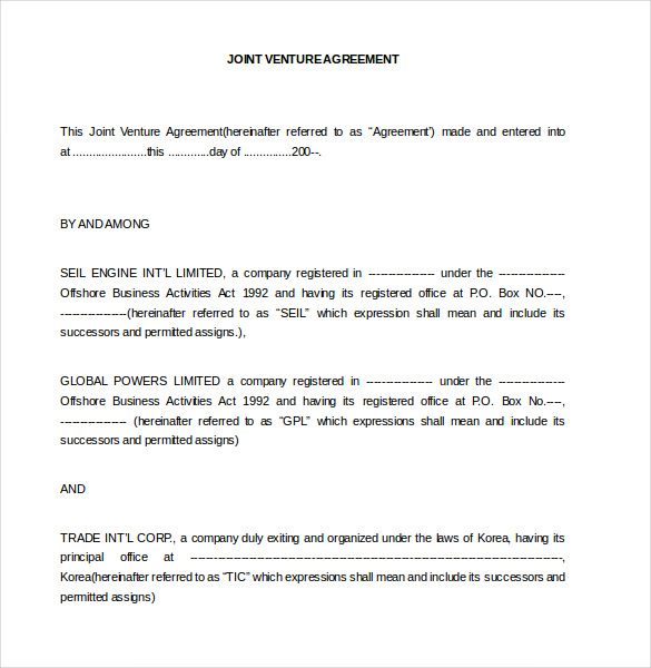 joint venture agreement template word joint venture agreement