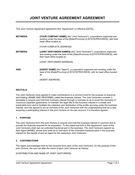 Joint Venture Agreement 2 Template & Sample Form | Biztree.com
