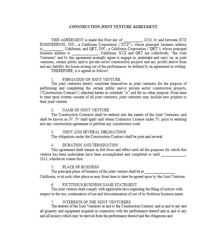 53 Simple Joint Venture Agreement Templates [PDF, DOC] Template Lab