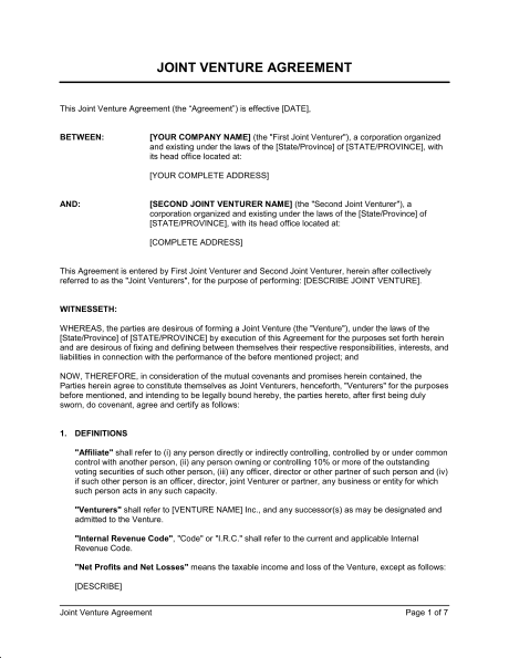 jv agreement template joint venture agreement template sample form