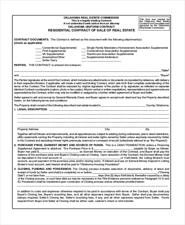 Land Purchase Agreement Form Pdf