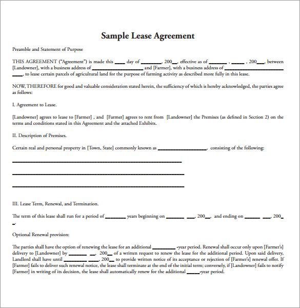 15+ Land Lease Agreements – Samples, Examples & Format | Sample