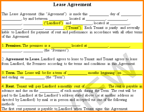 Renters Lease Agreement.lease Agreement Form Premises Landlord