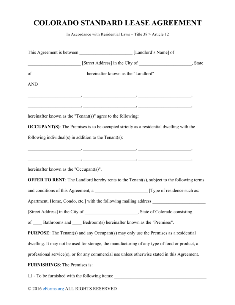 Free Colorado Standard Residential Lease Agreement Template PDF