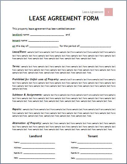 asset lease agreement template ms word lease agreement form