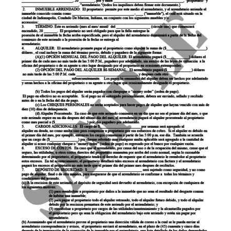 Residential Lease Agreement (Spanish)Indiana Legal Forms