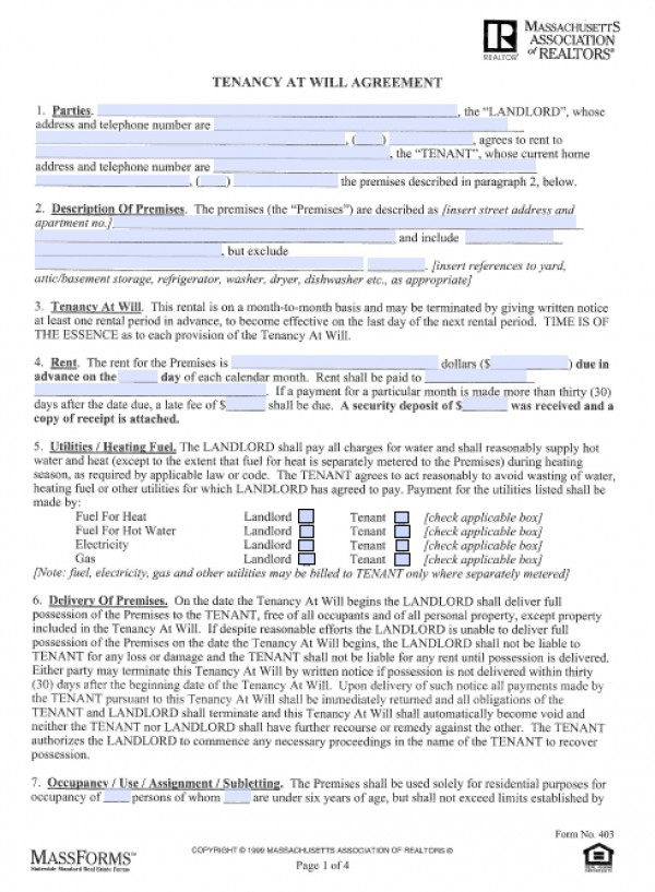 Free Massachusetts Month to Month (Tenancy at Will) Lease