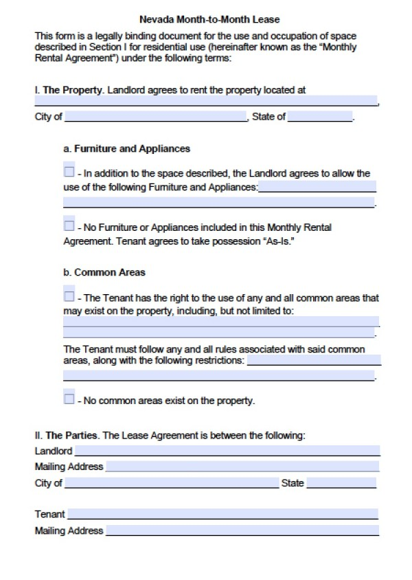 Free Nevada Month to Month Lease Agreement | PDF | Word (.doc)