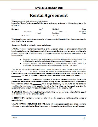 apartment lease agreement template word rent agreement template
