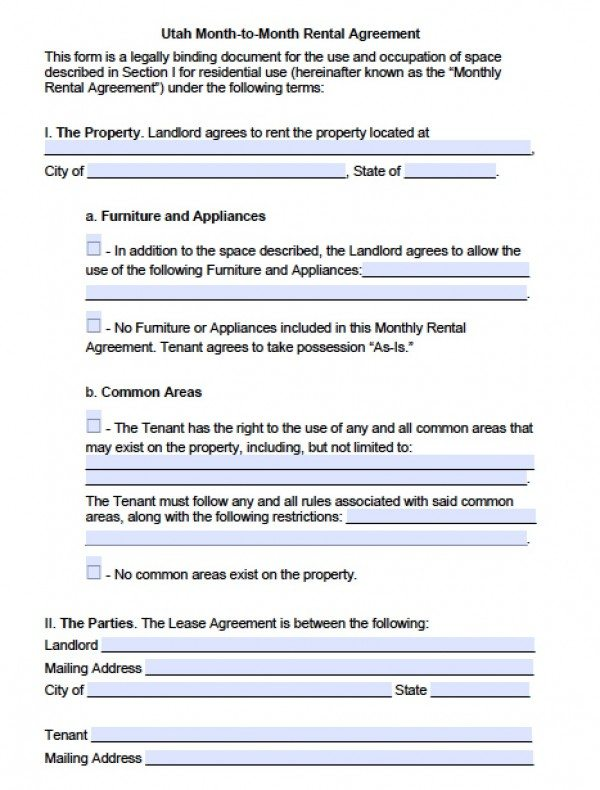 Free Utah Month to Month Lease Agreement | PDF | Word (.doc)