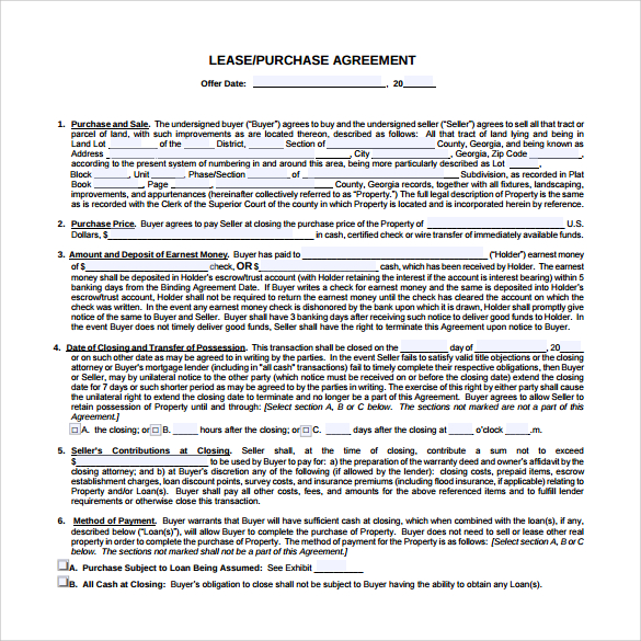 10+ Sample Lease Purchase Agreement Templates | Sample Templates