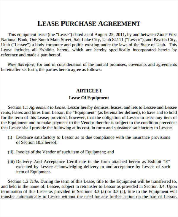 lease to own rental agreement template rent to own contract