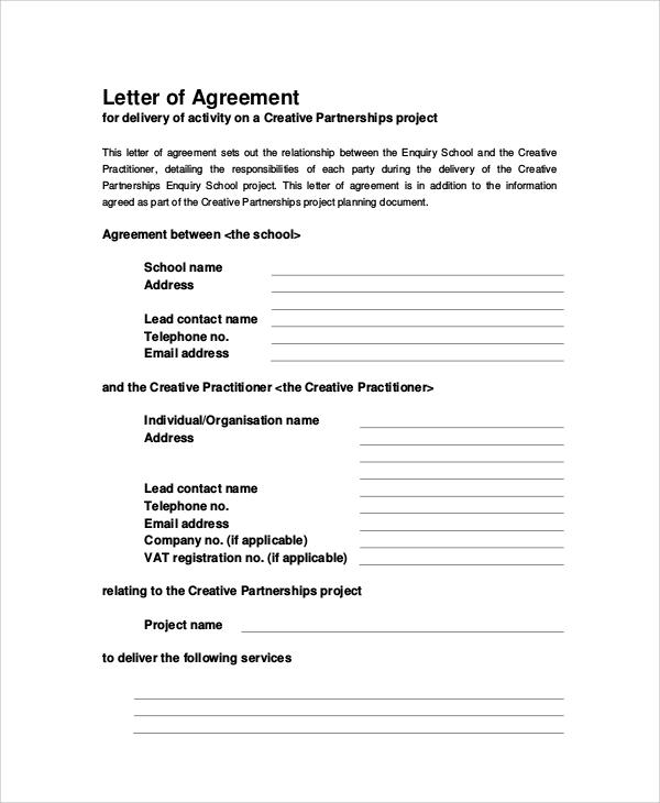 Letter Of Agreement 31 Sample Agreement Letters Harfiah Jobs