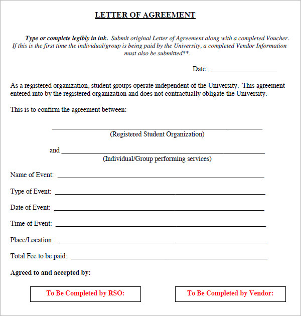 17+ Letter of Agreement Templates – PDF, DOC | Sample Templates
