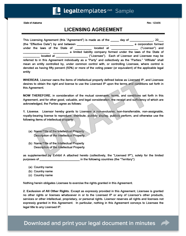 Licensing Agreement Template | Create a Free License Agreement