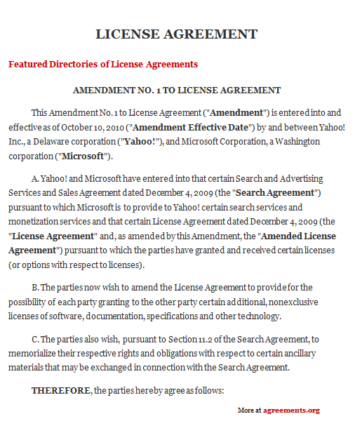 patent license agreement template license agreement sample license